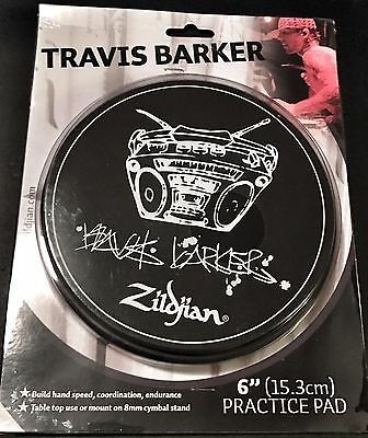 "Zildjian P1204 6"" Travis Barker Practice Pad Original Artwork W/ Solid Base New"