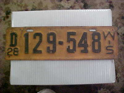 1928 Wisconsin License Plate Original Paint & Condition