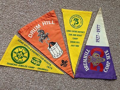Vintage Triangular Cloth Scout Flags Pennants 1970's 80's Collectors Derbyshire