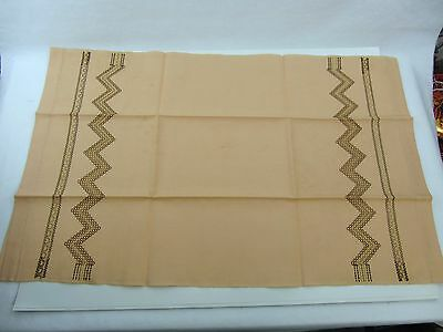"vintage Coral Dish Towel w/ Zig Zag Pattern in brown & gold - 16.75"" x 26"""