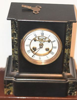 Black Marble Open Escarpement Mantle Clock - Working With Key