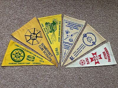 Vintage Selection of Scout Triangular Flags Pennants 1970's 80's Collector