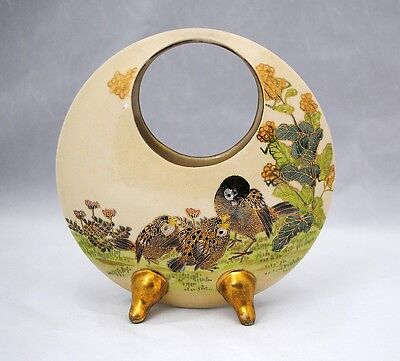 Satsuma Art Pottery Basket Shape Vase Bird Decoration Artist Signed
