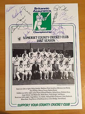 1987 Somerset Signed team Britannic Assurance sheet x 11 members of squad