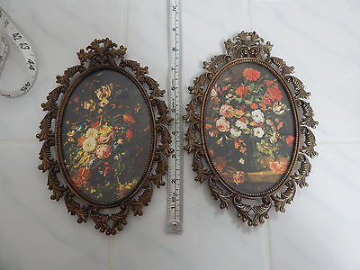 "Victorian oval metal picture frame floral Italy wall hanging  8.5"" "" set 2"