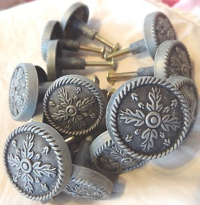END* LOT Set 15 PEWTER Knob PULL CABINET Door Drawer ROUND ROPE Colonial Coast