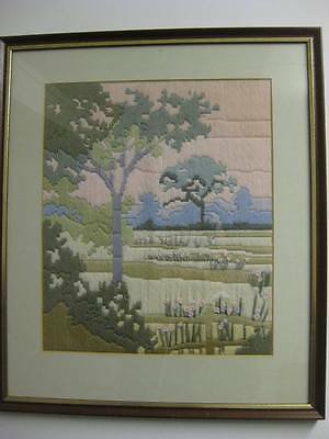 Needlepoint Landscape / Embroidery / Tapestry - Framed & Mounted - 41 w x 48 h