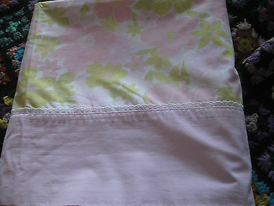 Vintage QUEEN  Pink & Yellow  Floral flat SHEET lace  trim too  92 inches wide