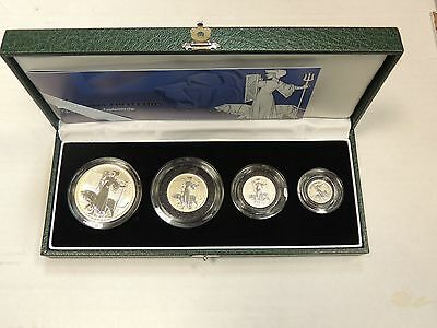 2001 Britannia 2 Pounds Silver Proof 4 Coin Set w/ Box and CoA