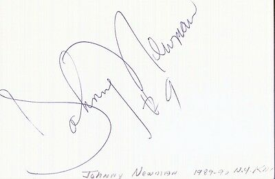 Autographed Index Card - Johnny Newman Cleveland Cavaliers New Jersey Nets