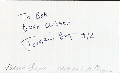 Autographed Index Card - Torgeir Bryn Los Angeles Clippers Power Forward/Center