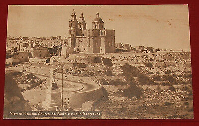 Vintage RP Postcard Malta,View of Mellieha Church,St.Paul's staute in foreground