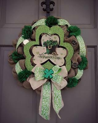 20 Inch Burlap St Patrick's Day Wreath Shamrock Green Carnations Gold Coins Bow