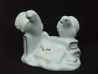 Collectable Pair of White & Gold Coloured Ceramic Dove Birds Ornament on Books