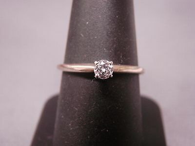 Classic Diamond Solitaire Engagement Ring 0.20ct 14k White Gold Size 8