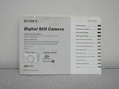 User Guide -Sony DSCV1- Instruction Manual - English