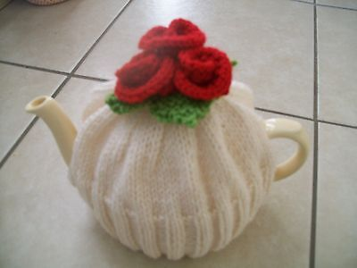 Hand Knitted Red Roses  Tea Cosy For A Medium Teapot