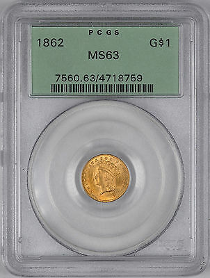 1862 Indian Princess Gold Dollar ( Type 3 OGH ) G$1 - PCGS MS63 -