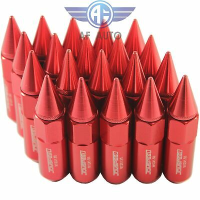 Red 20PCS M12X1.5 Cap Spiked Extended Tuner 60mm Aluminum Wheel Rim Lug Nuts New