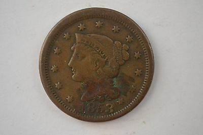 1853 P Braided Hair Liberty Head Large Cent Early Copper Penny