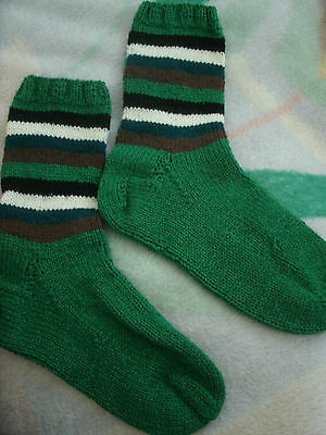 New green with stripes handmade knitted socks