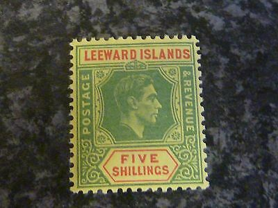 Leeward Islans Postage Revenue Stamp Sg112 5/- Green/red Yellow Lmm