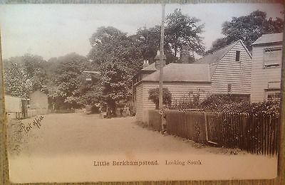 Little Berkhampstead Postcard Looking South People,Pub Sign(?) Post Office 1907