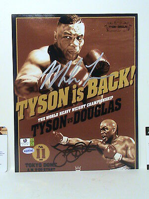 Mike Tyson & James Buster Douglas Signed Autographed Photo Global Authentic Coa