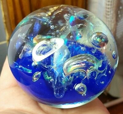 Vintage 1995 ART GLASS PAPERWEIGHT BLUE signed by ROGER VINES DICHROIC