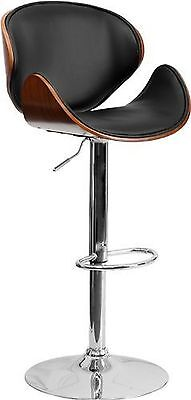 Nicer Furniture Faux Leather Bentwood PU Bar Stool in Black - Set of 1