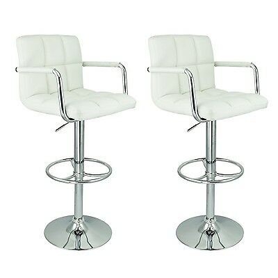 Nicer Furniture Hexagrid PU Height Adjustable Bar Stool with Arms in White - ...