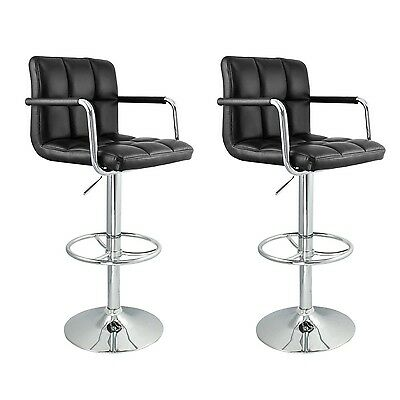 Nicer Furniture Hexagrid PU Height Adjustable Bar Stool with Arms in Black - ...