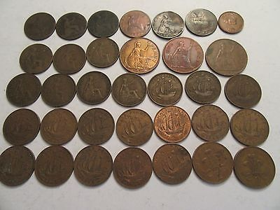 Lot of 34 Great Britain Coins  mixed dates btwn 1861-1979, mix denominations