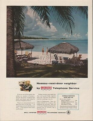 1956 Bell Telephone Paradise Beach Nassau, Bahamas 50s Vintage Photo Phone Ad