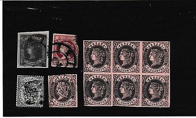 ISABELLA II SELECTION.A NICE LOT.CAT.£190.00 PUUS.INCLUDES BLOCK x 6.