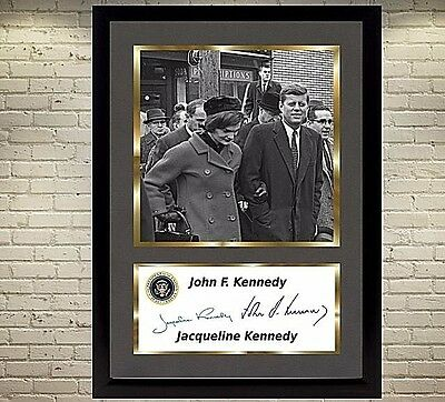 John F Kennedy JFK signed autograph poster canvas photo picture WITH FRAME