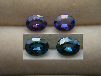 2 Alexandrite VERY RARE Color Change NATURAL Brazil gems Blue Green t Purple D88