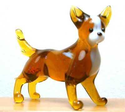 """Hand Blown """"murano"""" Glass Collectable Chihuahua Dog Figurine"""