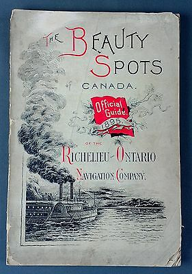 1895 Beauty Spots of Canada Great Lakes Pictorial lithographed map Ontario Erie