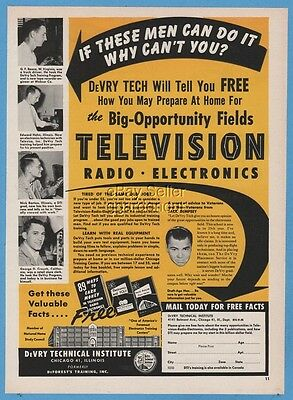 1956 Television Radio Electronic Repair Tech DeVry technical Institute Print Ad