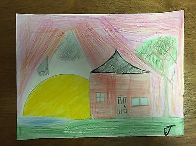 Original Signed Pencil Drawing by Ethan (9 Years Old), 'River House'
