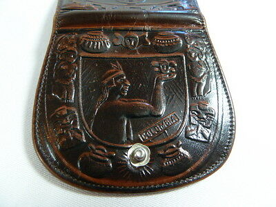 BOSSLEY Handmade  Columbia South America Handtooled Leather Change Purse Wallet