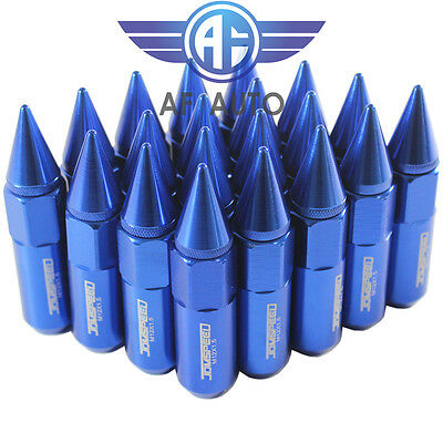 20PCS Blue 60MM M12X1.5 Cap Spiked Extended Tuner Aluminum Wheels Rims Lug Nuts