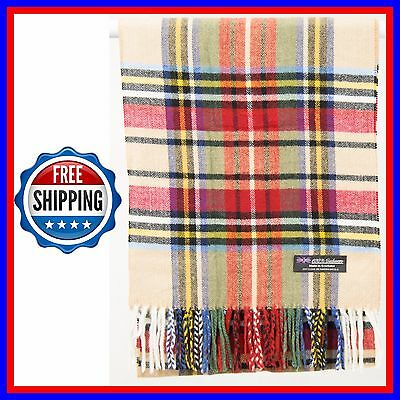 FREE SHIPPING 100% Cashmere Scarf Beige Black Red Scotland Wool Check Plaid Wrap