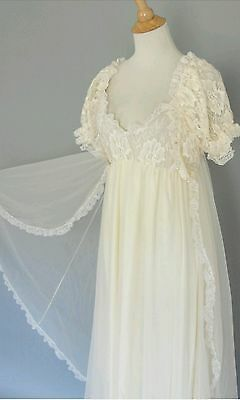 11ace9133 Vintage White Bridal TOSCA Sheer Chiffon Peignoir Robe Nightgown Negligee  Gown M