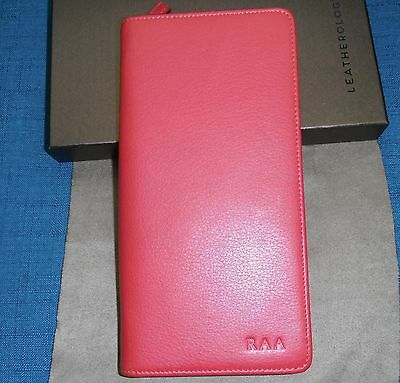 Leather travel wallet in red by Leatherology