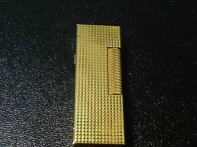Dunhill Rollagas Lighter Gold Plated with Hobnail Design - Very Good Condition
