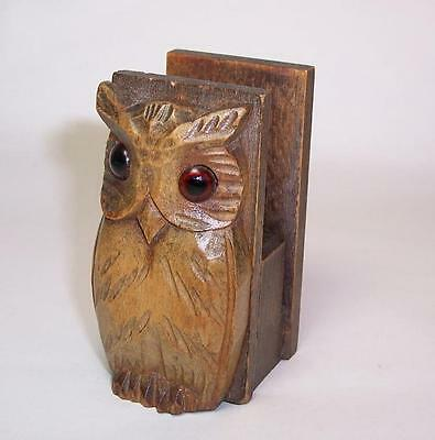 Antique/Vintage WOODEN BLACK FOREST OWL Style MATCH BOX HOLDER Glass Eyes