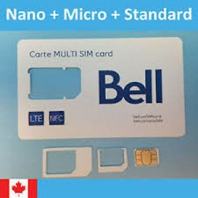 Bell Micro Nano and Standard Sim Cards