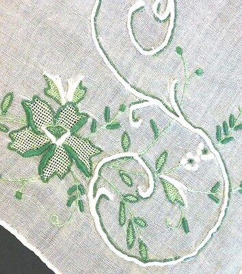 """Vintage Madeira Linen Hankie with """"S"""" Monogram - Lovely White &Green Embroidery"""